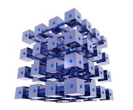 Abstract Data Cubes. Abstract cubes organized into a bigger cube, connected with bars, representing data analysis, data mining, data repository Stock Images