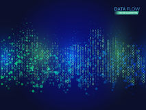 Abstract data flow background with binary code. Dynamic waves technology concept. Stock Images