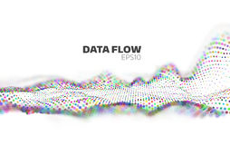 Abstract Data flow visualization. Information stream. Particles network Royalty Free Stock Image