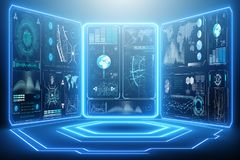 The abstract data room with futuristic design - 3d rendering stock photo
