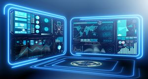 be2fe8513874 The abstract data room with futuristic design - 3d rendering. Abstract data  room with futuristic