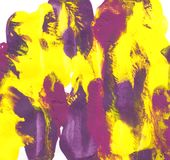 Abstract daubs of yellow, purple and magenta paint. On white paper background Royalty Free Stock Photography