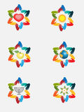 Abstract David star from abstract hands,jewish symbols. Abstract jewish star from abstract hands with symbols on the white background Stock Photo