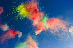 Abstract:  daytime fireworks in the blue sky Stock Images