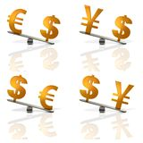 Abstract 3DCG illustration showing rates of euro, Japanese yen, dollar. Stock Photo