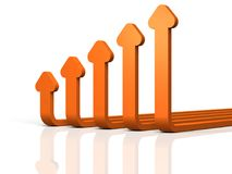 Abstract 3DCG illustration showing upward trend. Royalty Free Stock Images