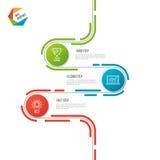 Abstract de chronologie infographic malplaatje van de 3 stappenweg vector illustratie