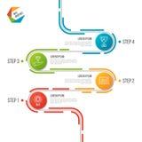 Abstract de chronologie infographic malplaatje van de 4 stappenweg vector illustratie