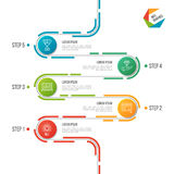 Abstract de chronologie infographic malplaatje van de 5 stappenweg vector illustratie