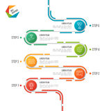 Abstract de chronologie infographic malplaatje van de 6 stappenweg Stock Afbeelding