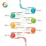 Abstract de chronologie infographic malplaatje van de 6 stappenweg royalty-vrije illustratie