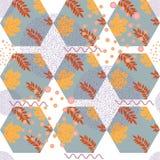 Abstract de herfst naadloos patroon met bladeren en ontwerpelementen Stock Foto