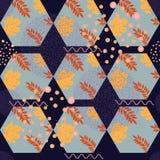 Abstract de herfst naadloos patroon met bladeren en ontwerpelementen Stock Afbeeldingen