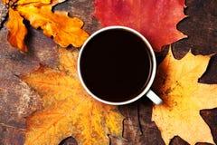 Abstract de herfstconcept - gele en rode de herfstbladeren en kop o Stock Afbeeldingen