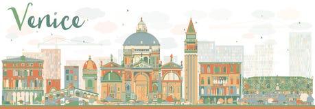 Abstract de Horizonsilhouet van Venetië met Kleurengebouwen Stock Foto's