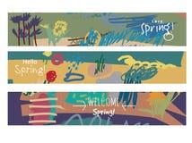 Abstract de lente bloemenkunst en teken van reeks horizontaal banners Stock Afbeelding
