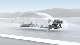 Abstract de structuuroverzicht van de stadsauto tijdens aandrijving 3d illustratie van het opaciteitontwerp Royalty-vrije Stock Foto