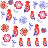 Abstract de vogels oneven naadloos patroon van de aardfantasie in vector Het Stock Afbeeldingen