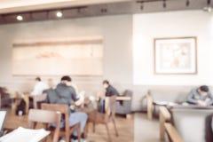 Abstract de winkel en het restaurantbinnenland van de onduidelijk beeldkoffie Royalty-vrije Stock Afbeelding
