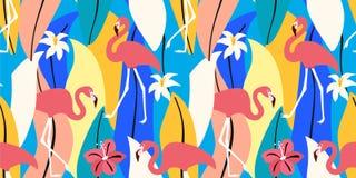 Abstract de zomer exotisch patroon met flamingo's en tropische bladeren Vector naadloze textuur In illustratie vector illustratie
