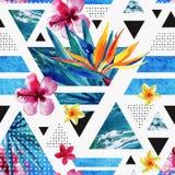 Abstract de zomer geometrisch naadloos patroon met exotische bloemen Stock Illustratie