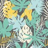 Abstract de zomer helder bloemen naadloos patroon met in hand getrokken texturen stock illustratie