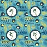 Abstract de zomer naadloos patroon Waterverfpalm, borstelslagen Waterverfachtergrond in minimalistic styld geschilderde tropica Stock Foto