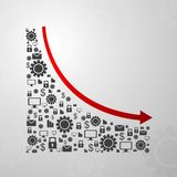 Abstract decline graph arrow with communication Royalty Free Stock Images