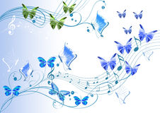 Abstract decor with butterflies and notes Stock Image