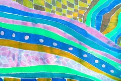 Abstract decor op zijdesjaal in batiktechniek Stock Fotografie