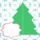 Abstract decorated christmas tree blank banner. Abstract decorated christmas tree with blank banner. Vector illustration Royalty Free Stock Images
