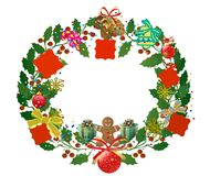 Free Abstract Decorated Christmas Wreath With Red Tags Royalty Free Stock Photography - 34959447