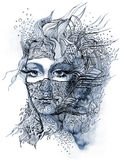Abstract decorated face royalty free illustration