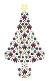 Abstract Decorated Tree. Illustration of abstract Christmas tree on white Stock Photography