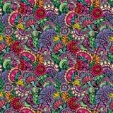 Abstract decoratief naadloos patroon met hand getrokken bloemenelem Stock Afbeeldingen