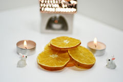 Abstract decoration of Christmas dry oranges. Stock Photos