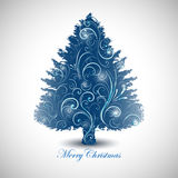 Abstract decorative Christmas tree design. Blue decorative Christmas tree concept Royalty Free Illustration