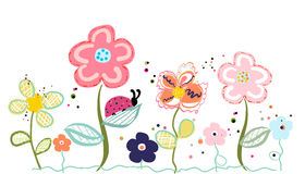 Abstract decorative colorful spring flower illustration Royalty Free Stock Image