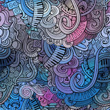 Abstract decorative doodles music seamless pattern Royalty Free Stock Photo