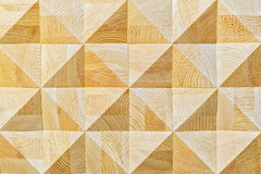 Abstract decorative ecological unpainted light wooden background with geomethrical mosaik wood pattern close-up, natural. Surface. Wood background texture Stock Images