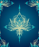Abstract decorative element in Boho style on blue Stock Photo