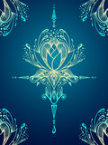 Abstract decorative element in Boho style on blue Royalty Free Stock Photo