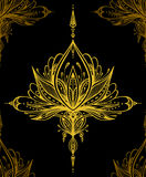Abstract decorative element in Boho style gold on black Royalty Free Stock Photo