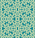 Abstract decorative floral yellow blue seamless pattern Royalty Free Stock Photography