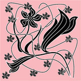 Abstract decorative flower ornament. Abstract decorative black flower ornament on pink background. Hand drawing illustration royalty free illustration