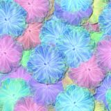 Abstract decorative fractal floral pattern - soft light fluffy flowers resemble the airy tulle or cotton clutches. Abstract pink blue yellow decorative fractal Royalty Free Stock Photos