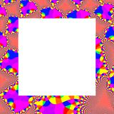 Abstract decorative fractal rainbow pattern on square frame Stock Photos