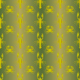Abstract decorative golden crayfishes. Seamless pattern. Vector Royalty Free Stock Images
