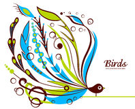 Decorative floral background with bird Royalty Free Stock Photos