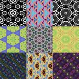 Abstract decorative kaleidoscopic pattern set. Abstract decorative kaleidoscopic pattern patchwork set Royalty Free Stock Photo
